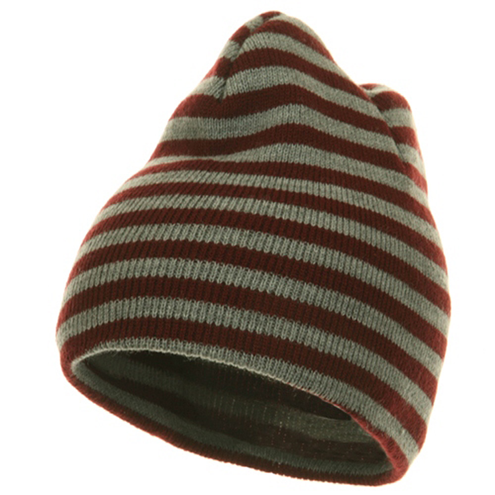 Trendy Striped Beanie - Maroon Grey - Hats and Caps Online Shop - Hip Head Gear
