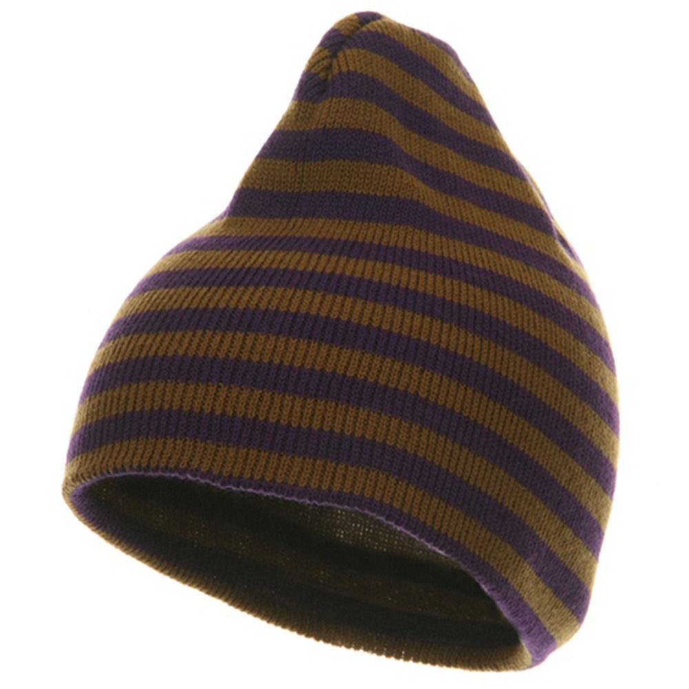 Trendy Striped Beanie - Purple Brown - Hats and Caps Online Shop - Hip Head Gear