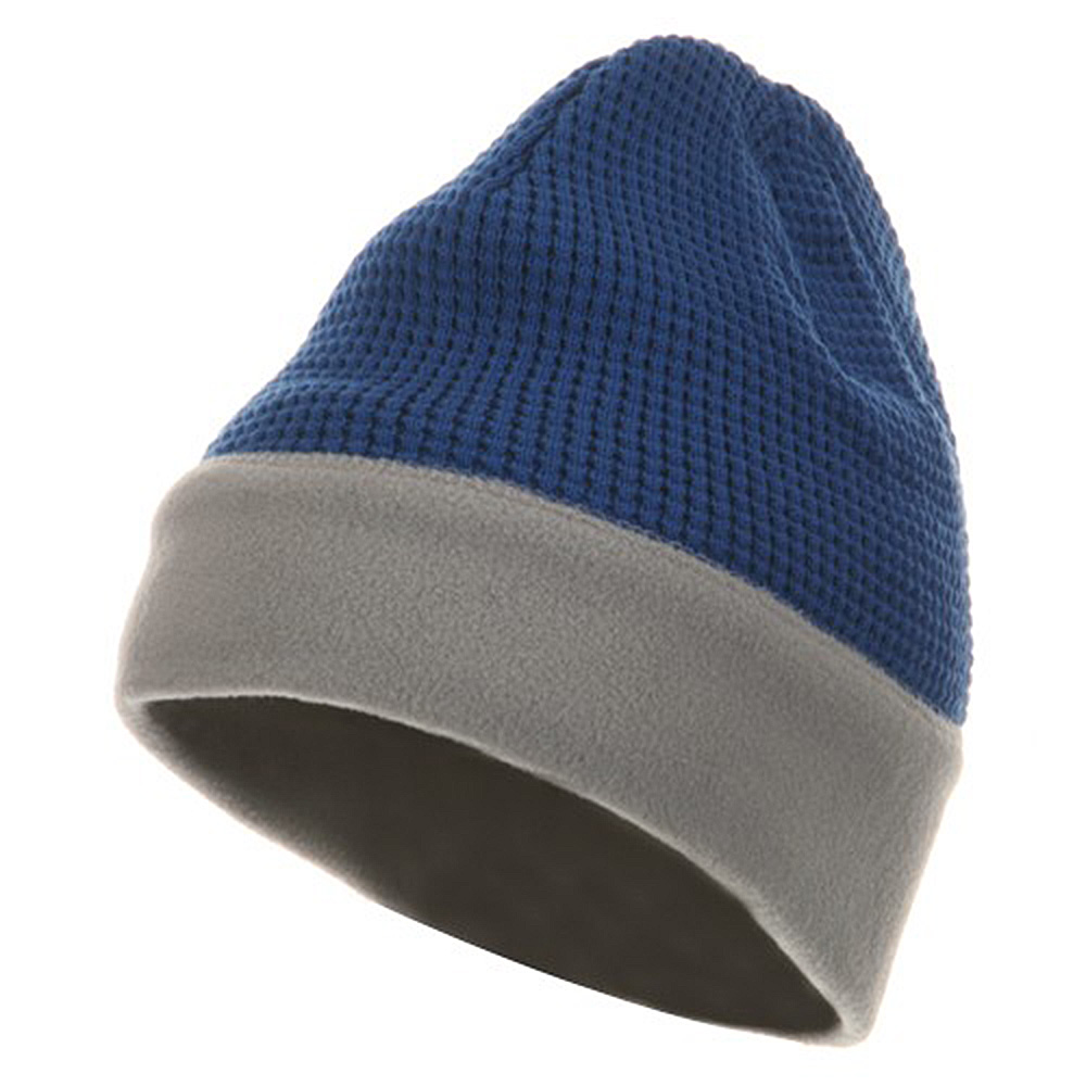 Knit Fleece Combo Beanie - Royal Grey - Hats and Caps Online Shop - Hip Head Gear