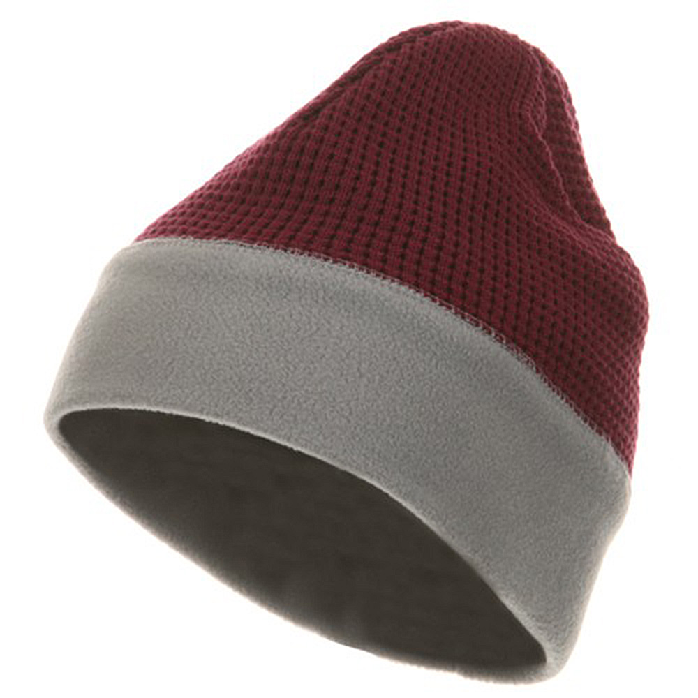 Knit Fleece Combo Beanie - Maroon Grey - Hats and Caps Online Shop - Hip Head Gear