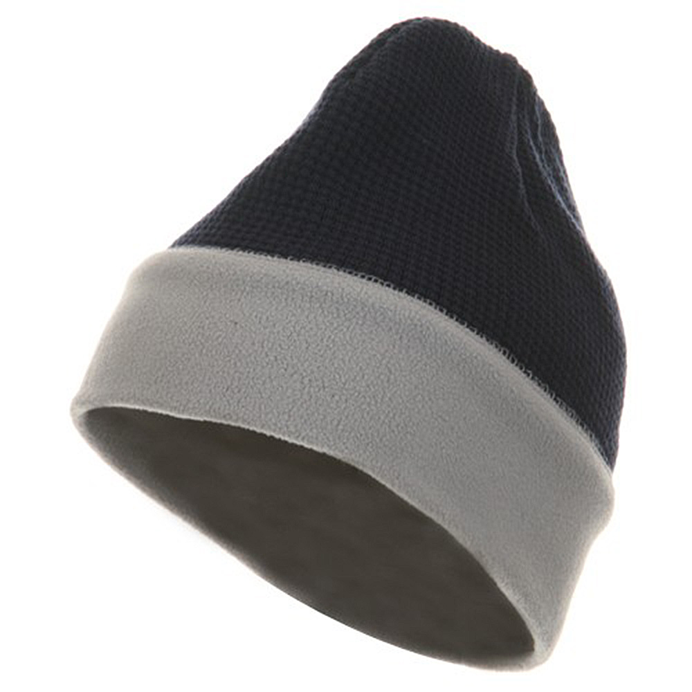 Knit Fleece Combo Beanie - Navy Light Grey - Hats and Caps Online Shop - Hip Head Gear