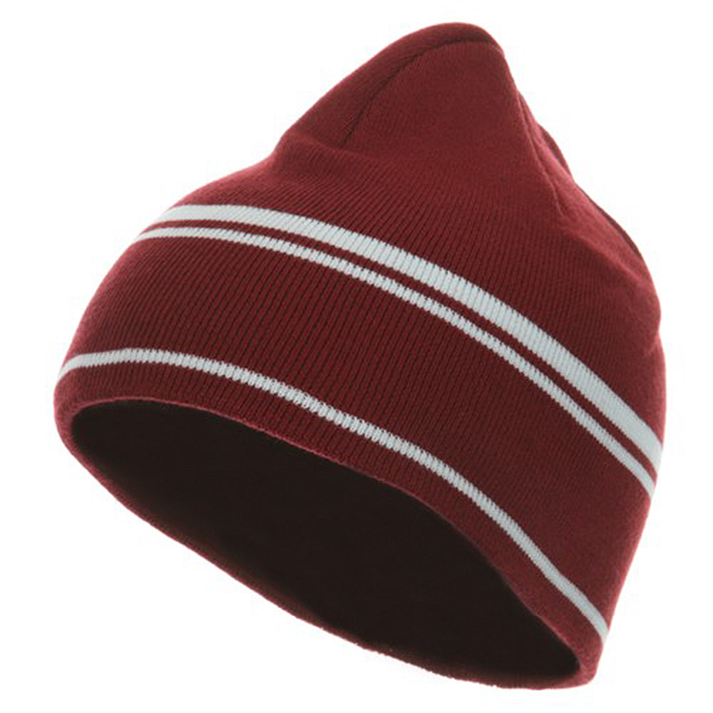 Moisture Wicking Beanie - Maroon White - Hats and Caps Online Shop - Hip Head Gear