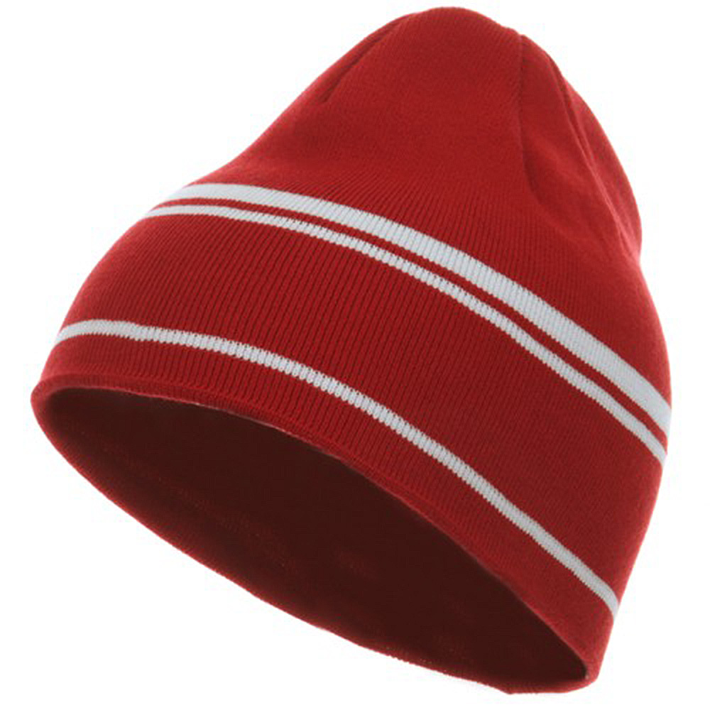 Moisture Wicking Beanie - Red White - Hats and Caps Online Shop - Hip Head Gear