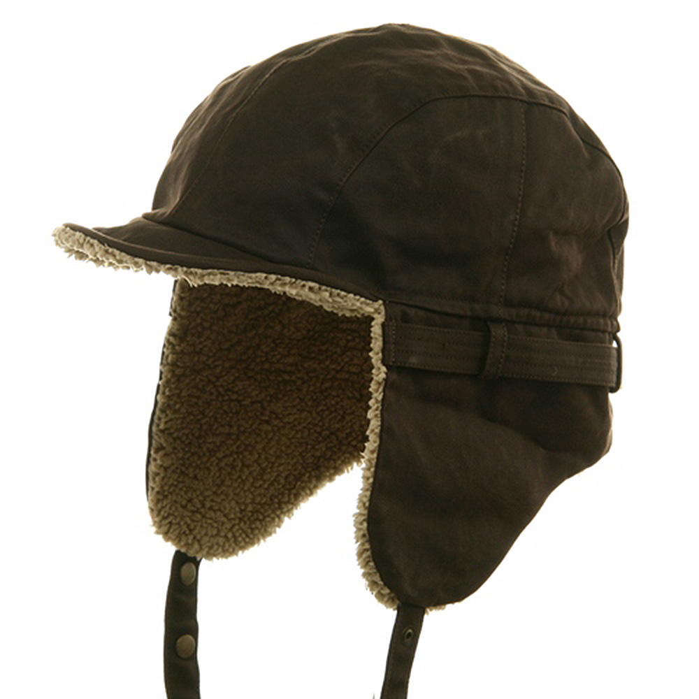 Faux Leather Shell Aviator Hat-Brown - Hats and Caps Online Shop - Hip Head Gear