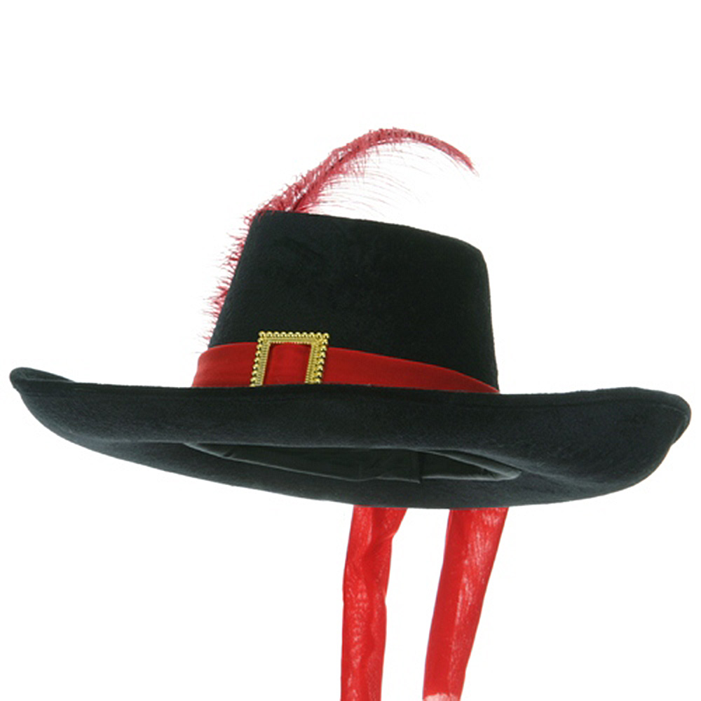 Velvet Musketeer Hat - Black Red - Hats and Caps Online Shop - Hip Head Gear