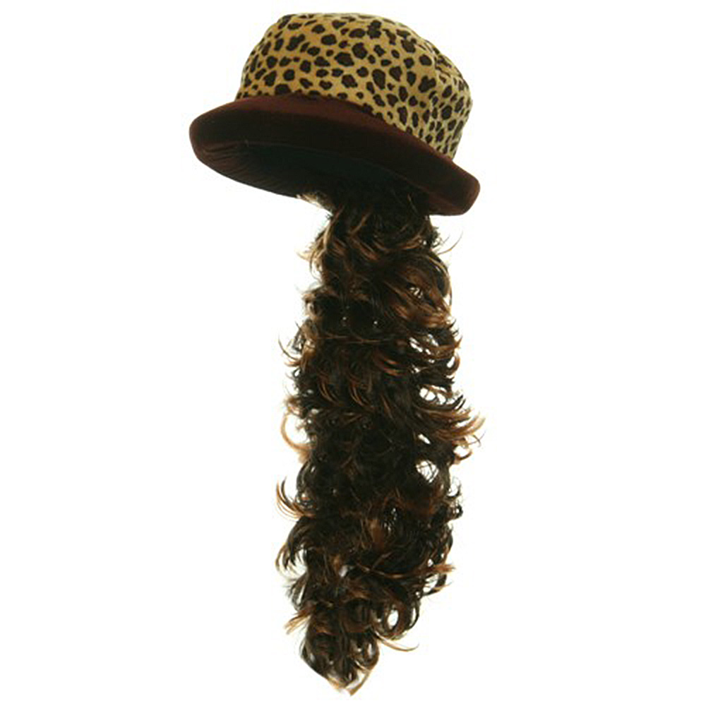 Leopard Velvet Hat with Hair - Brown Leopard - Hats and Caps Online Shop - Hip Head Gear
