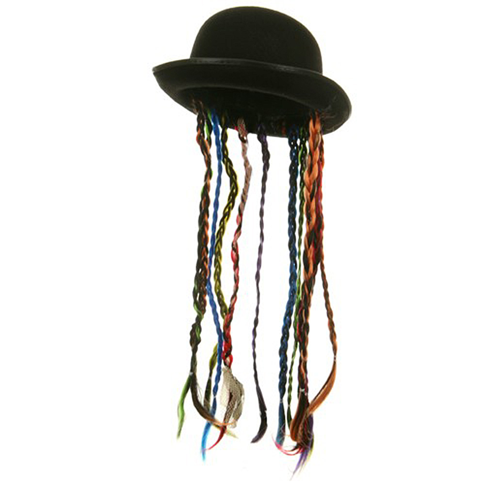 Felt Derby With Braids Hat - Black Rainbow - Hats and Caps Online Shop - Hip Head Gear