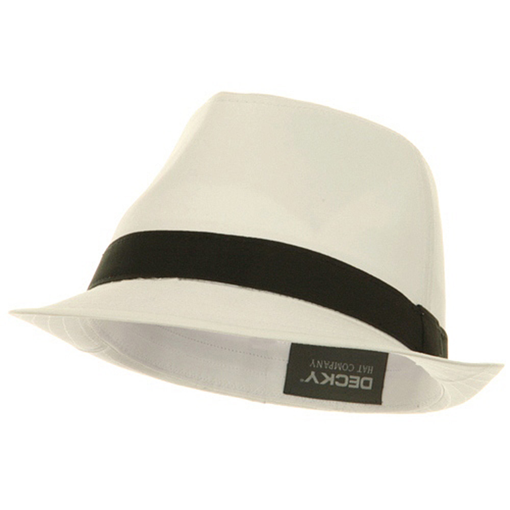 Basic Poly Woven Fedora Hats - White Black - Hats and Caps Online Shop - Hip Head Gear