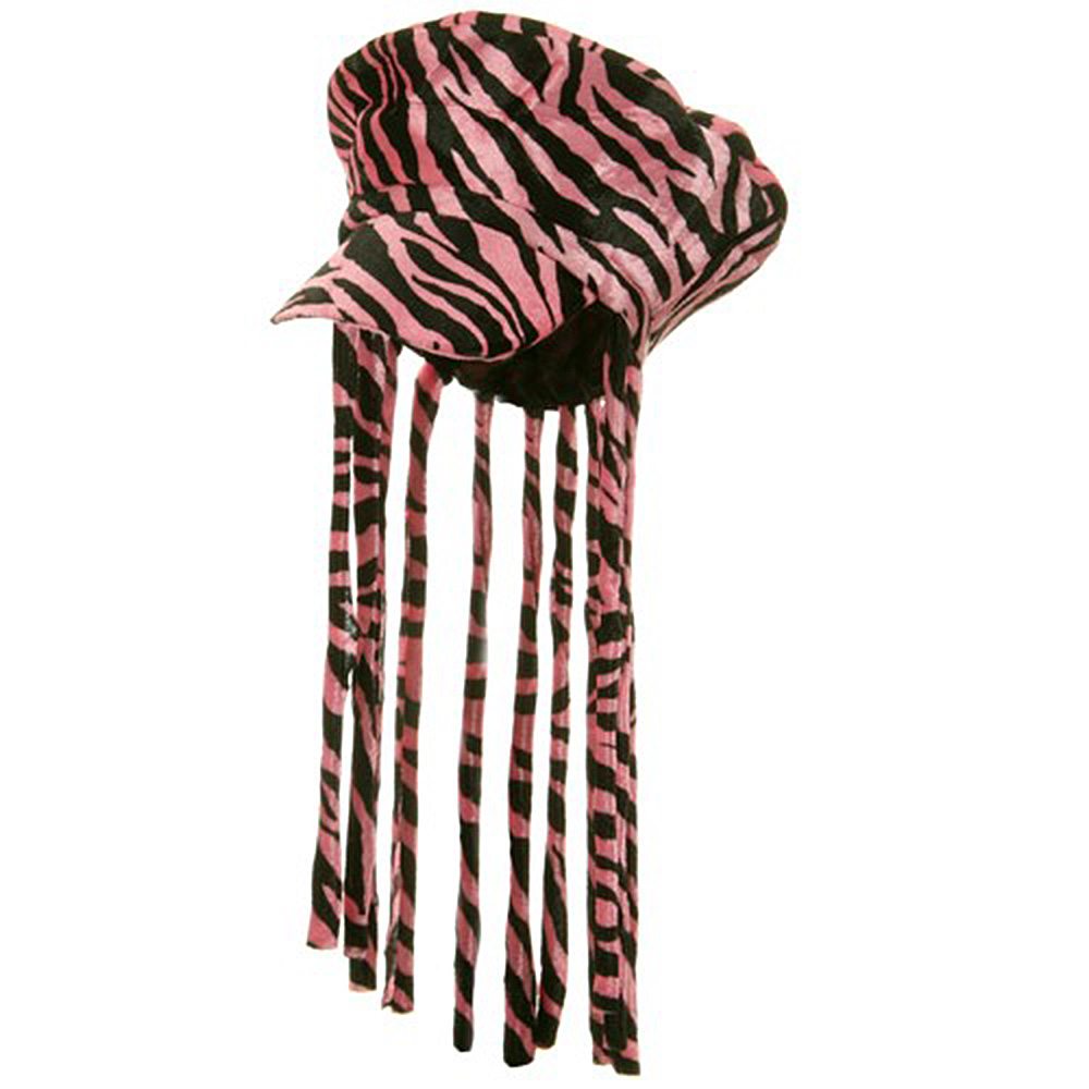Zebra Stripe Velvet Cap with Braids - Pink - Hats and Caps Online Shop - Hip Head Gear