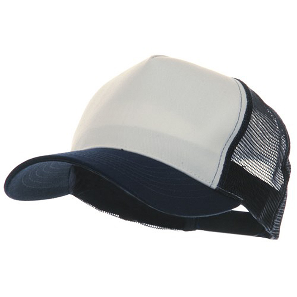 5 Panel Pet Spun Mesh Cap - White Navy - Hats and Caps Online Shop - Hip Head Gear
