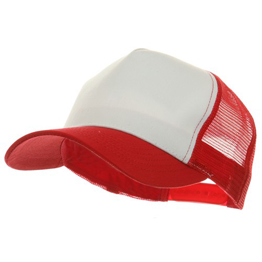 5 Panel Pet Spun Mesh Cap - White Red