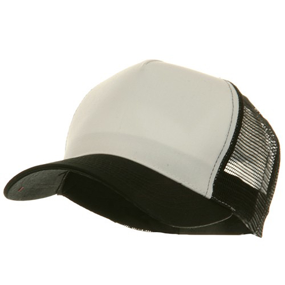 5 Panel Pet Spun Mesh Cap - White Black - Hats and Caps Online Shop - Hip Head Gear