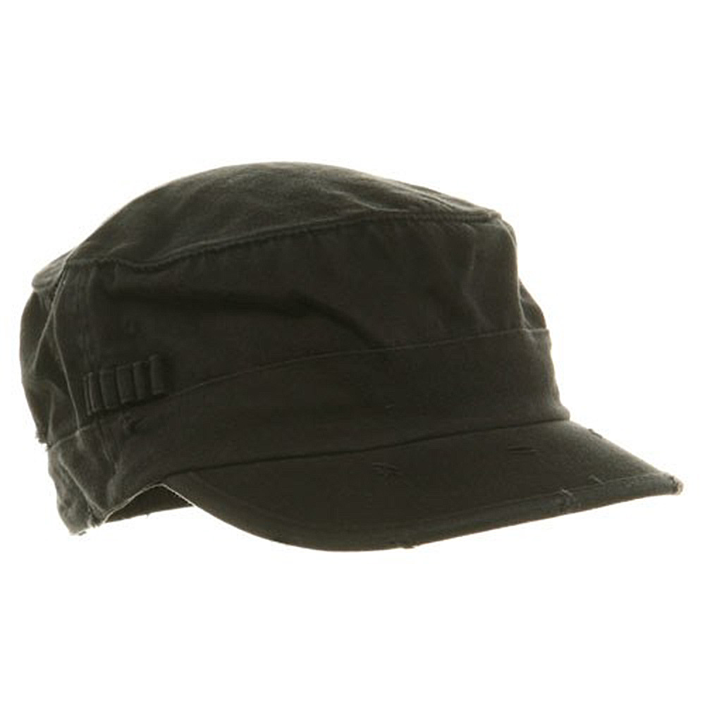 Washed Cotton Fitted Army Cap-Black - Hats and Caps Online Shop - Hip Head Gear