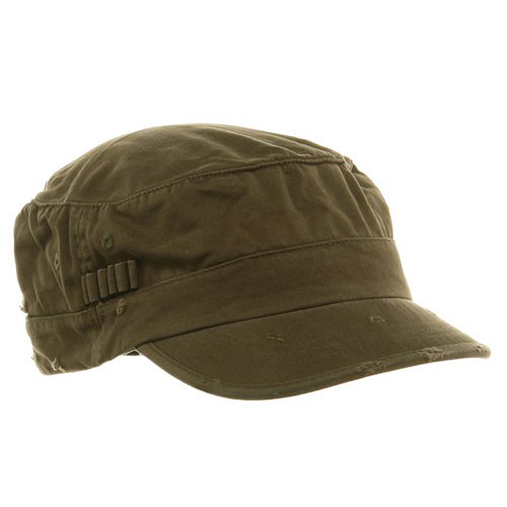 Washed Cotton Fitted Army Cap-Dark Olive - Hats and Caps Online Shop - Hip Head Gear