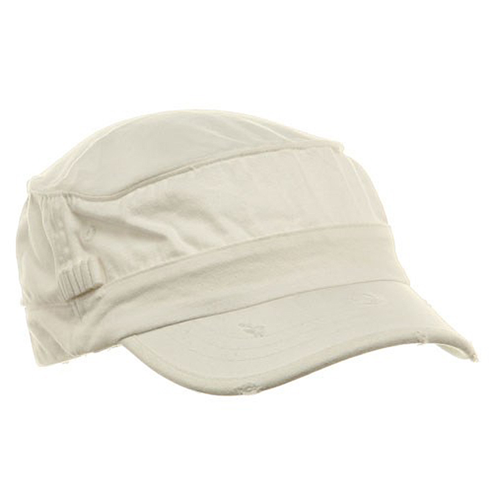 Washed Cotton Fitted Army Cap-White - Hats and Caps Online Shop - Hip Head Gear