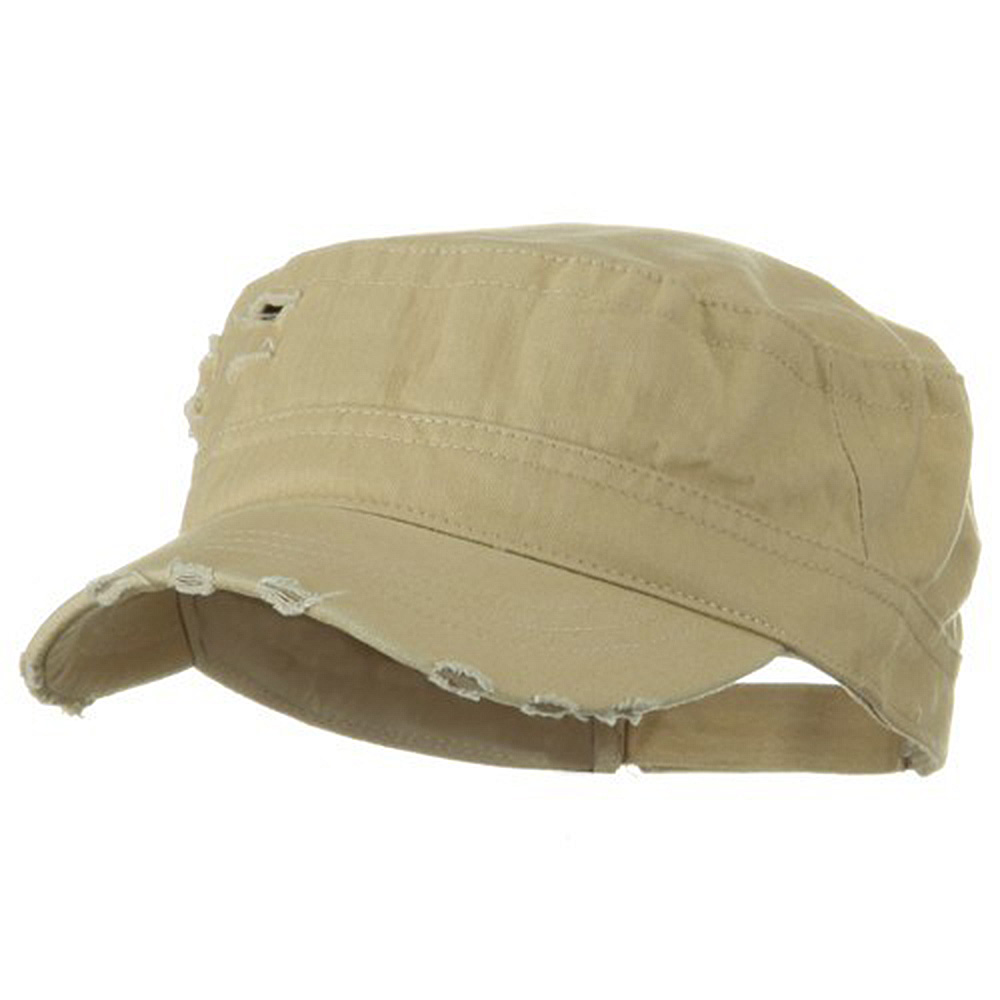Adjustable Herringbone Army Cap - Khaki - Hats and Caps Online Shop - Hip Head Gear