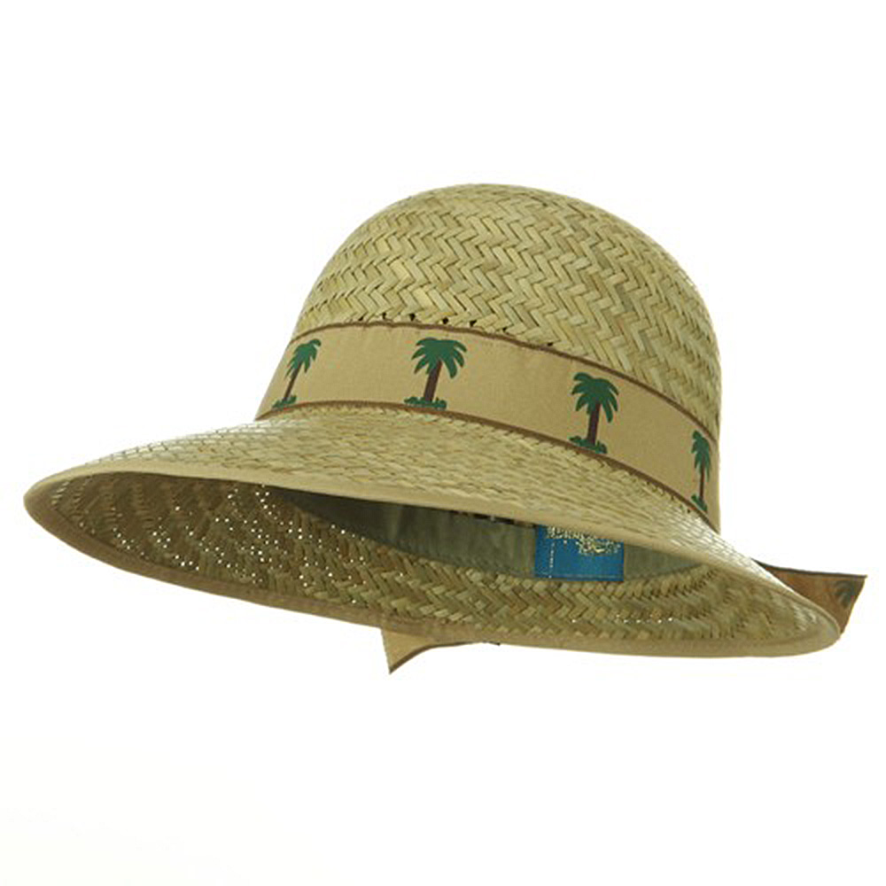 Straw Sun Block Ladies Hat - Natural  Palm Tree Band - Hats and Caps Online Shop - Hip Head Gear