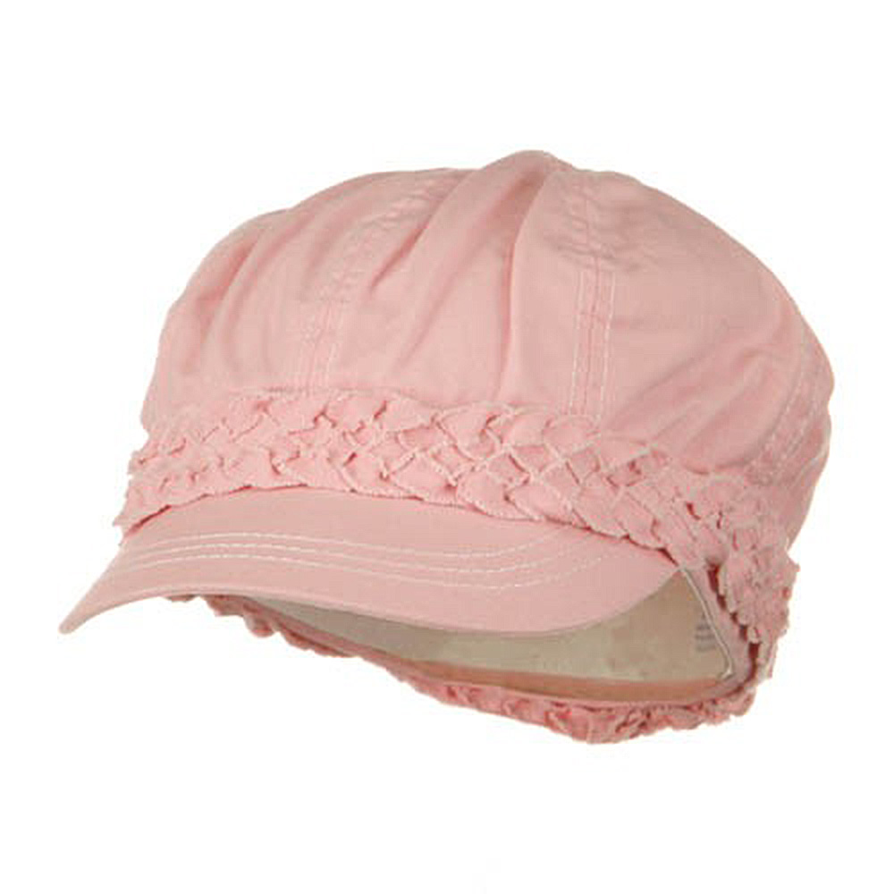 Ladies Brushed Canvas Newsboy Hat - Pink - Hats and Caps Online Shop - Hip Head Gear