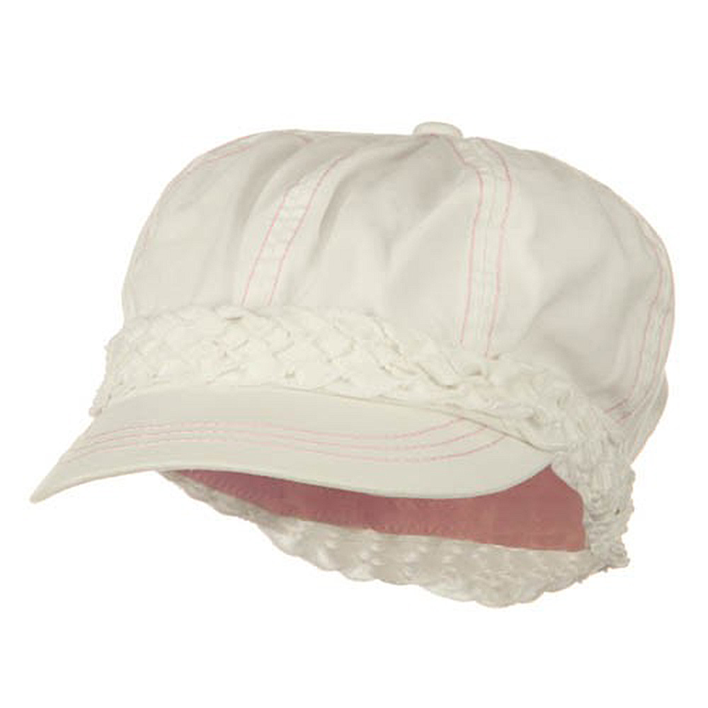 Ladies Brushed Canvas Newsboy Hat - White - Hats and Caps Online Shop - Hip Head Gear