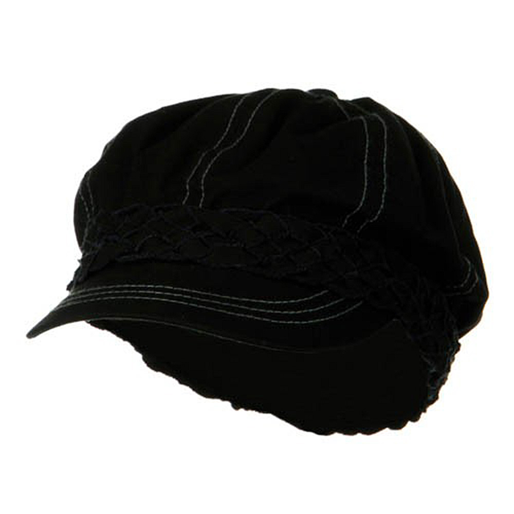 Ladies Brushed Canvas Newsboy Hat - Black - Hats and Caps Online Shop - Hip Head Gear