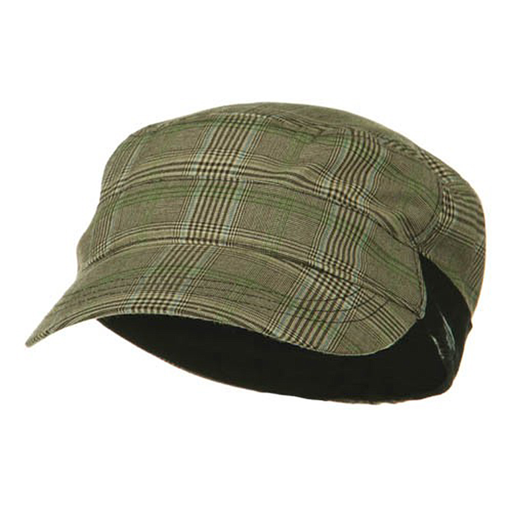 Fashion Plain Insulation Lining Army Cap - Brown