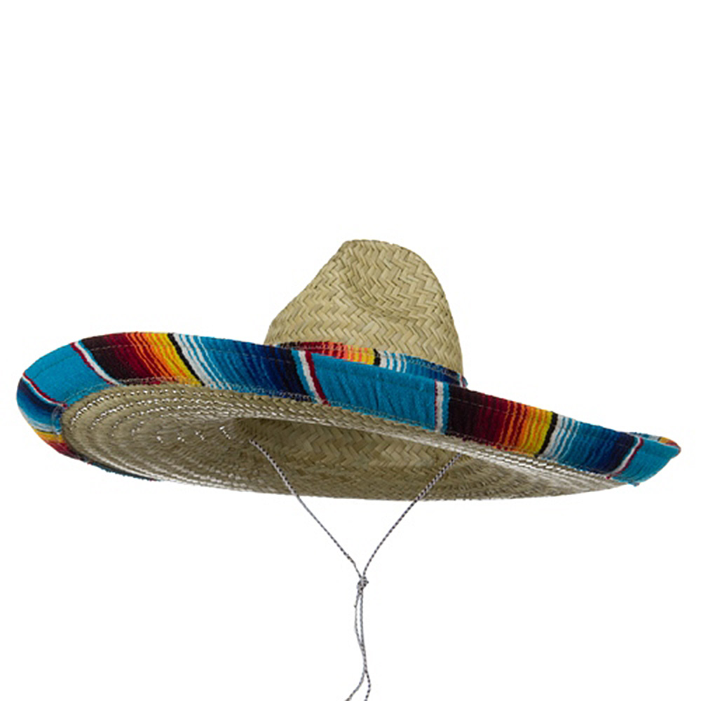 Serape Band Straw Sombrero - Blue - Hats and Caps Online Shop - Hip Head Gear