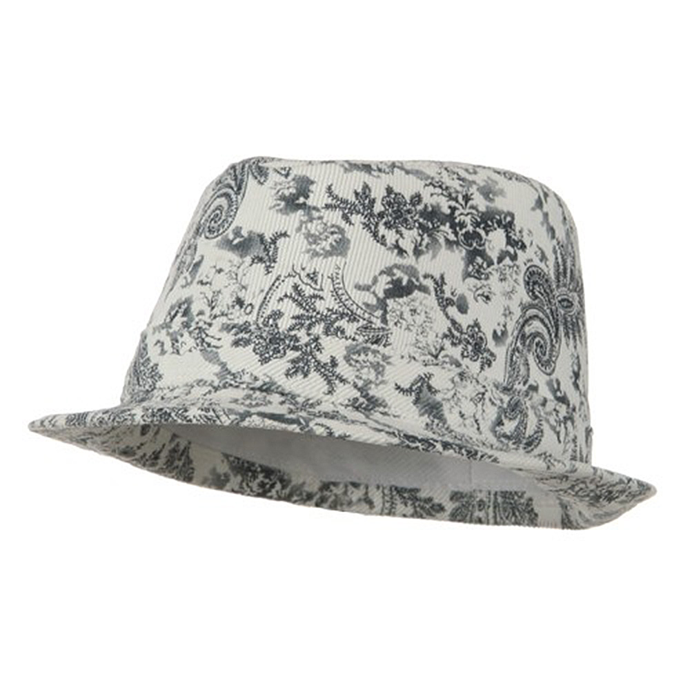 Ladies Corduroy Printed Fedora Hat - Black - Hats and Caps Online Shop - Hip Head Gear