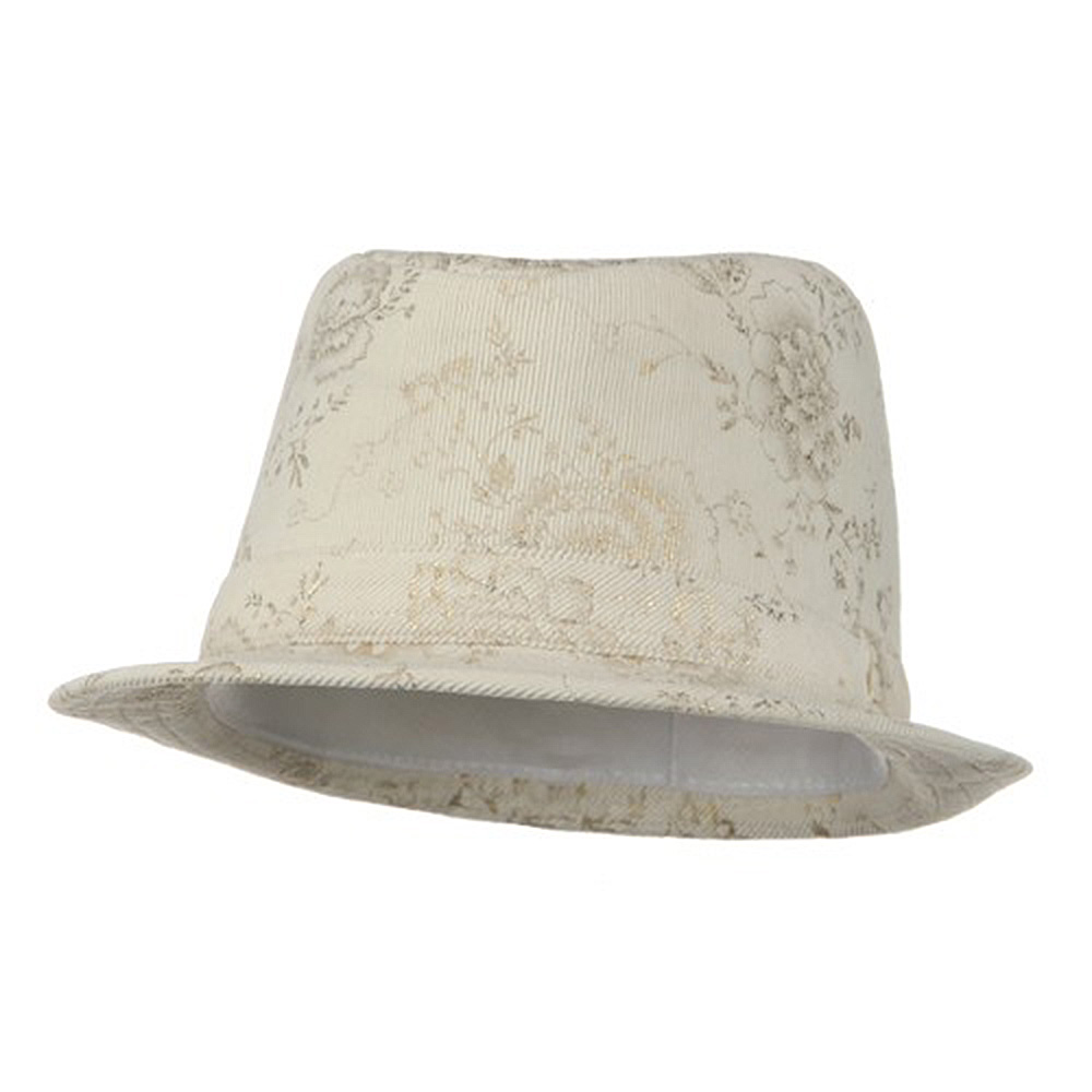 Ladies Corduroy Printed Fedora Hat - Natural - Hats and Caps Online Shop - Hip Head Gear