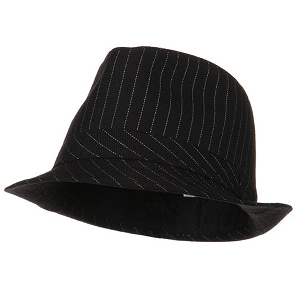 Youth Pinstripe Fedora Hat - Black White - Hats and Caps Online Shop - Hip Head Gear