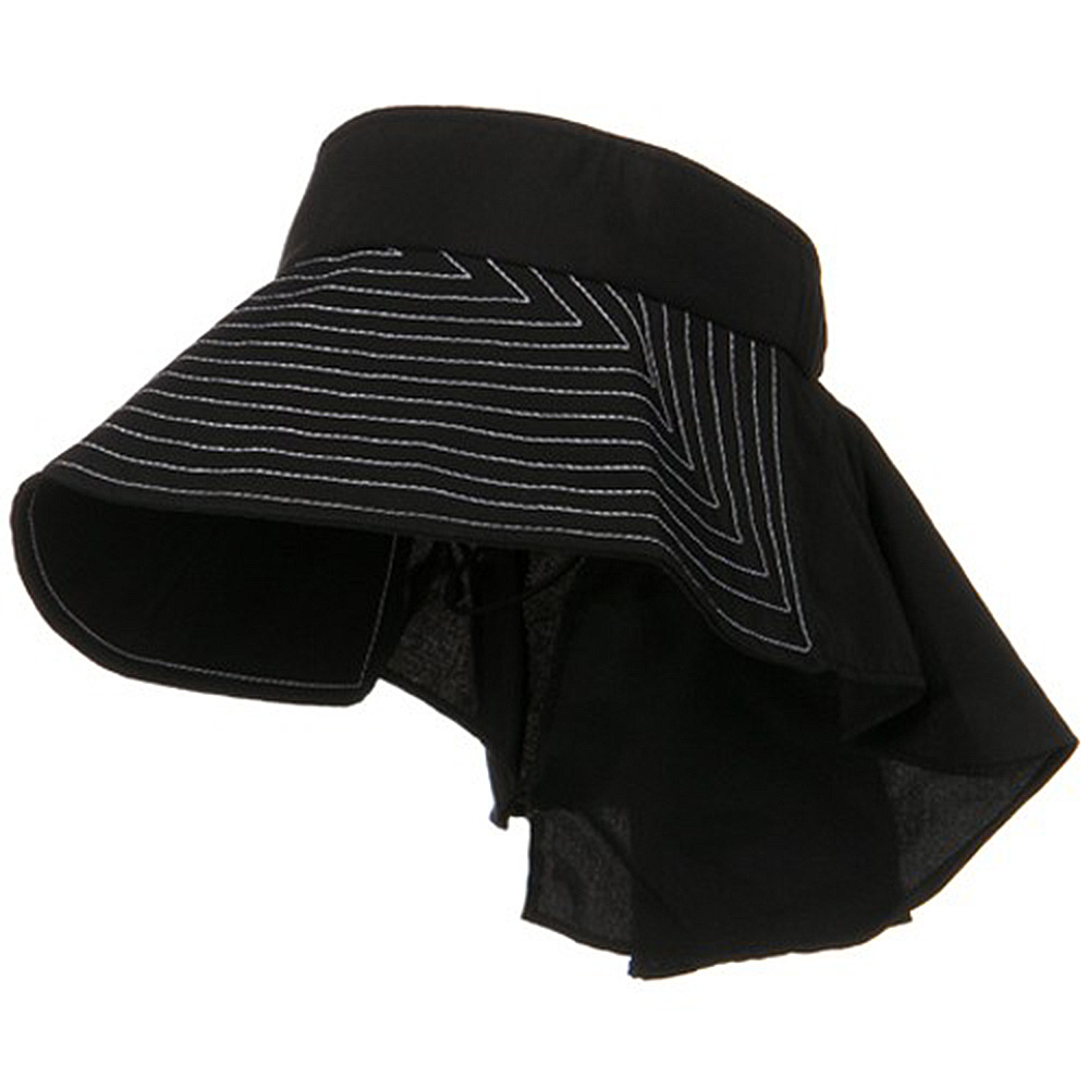 UV Wide Brim Packable Visor with Flap - Black
