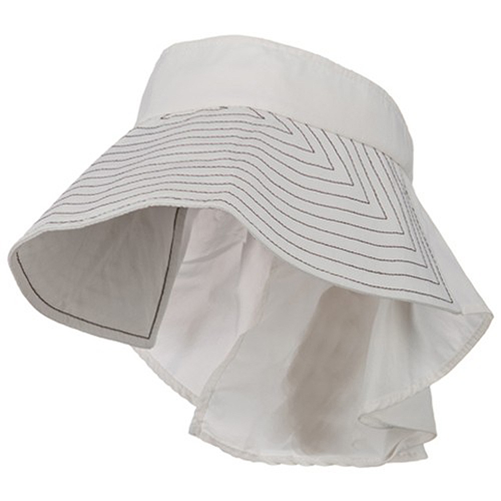 UV Wide Brim Packable Visor with Flap - White