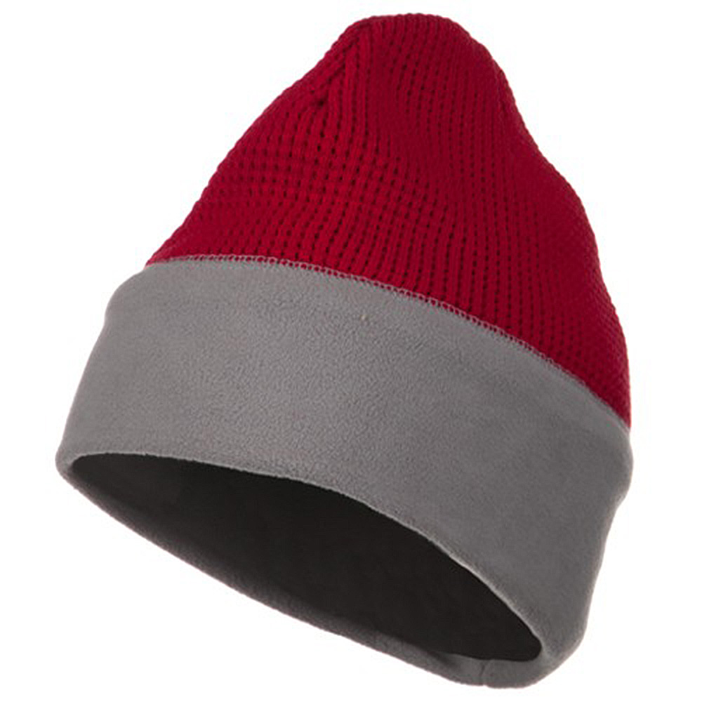 Knit Fleece Combo Beanie - Red Light Grey - Hats and Caps Online Shop - Hip Head Gear