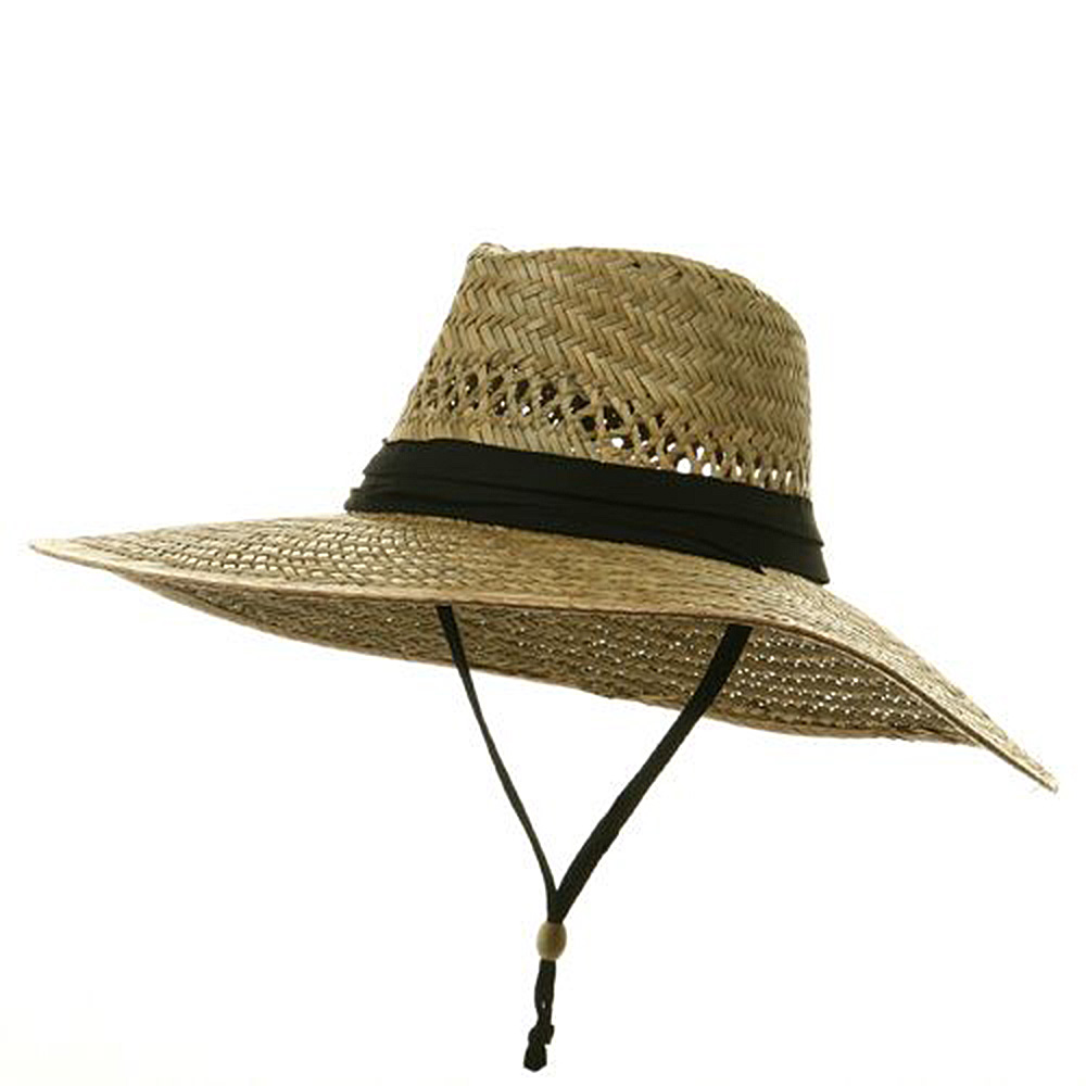 ML Wide Brim Straw Hat -Natural Black - Hats and Caps Online Shop - Hip Head Gear