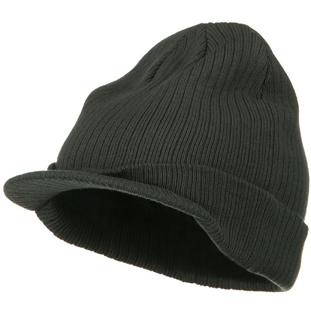 Big Knit Ribbed Beanie with Visor - Charcoal - Hats and Caps Online Shop - Hip Head Gear
