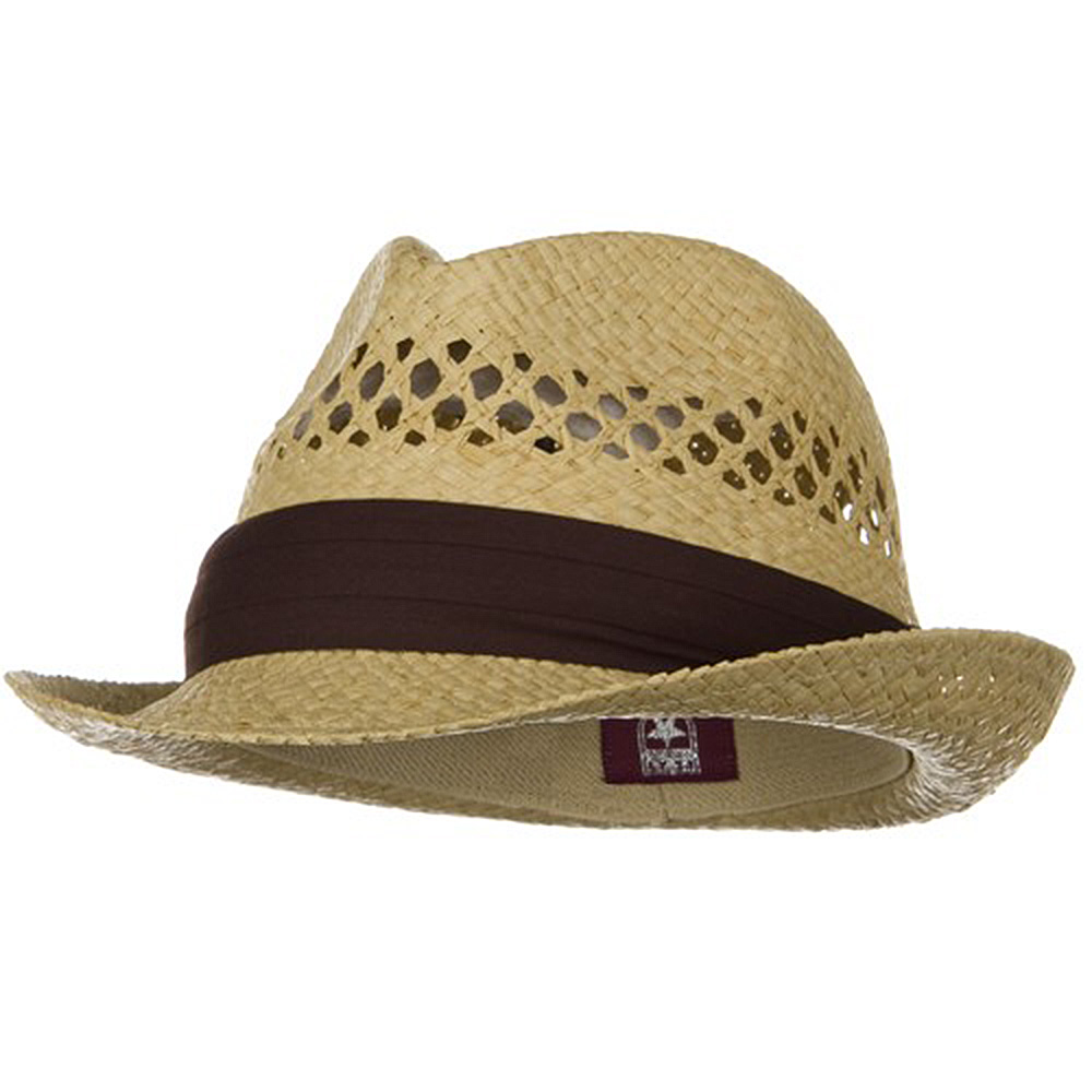 Vented Raffia Straw Fedora Hat-Natural with Brown Band - Hats and Caps Online Shop - Hip Head Gear