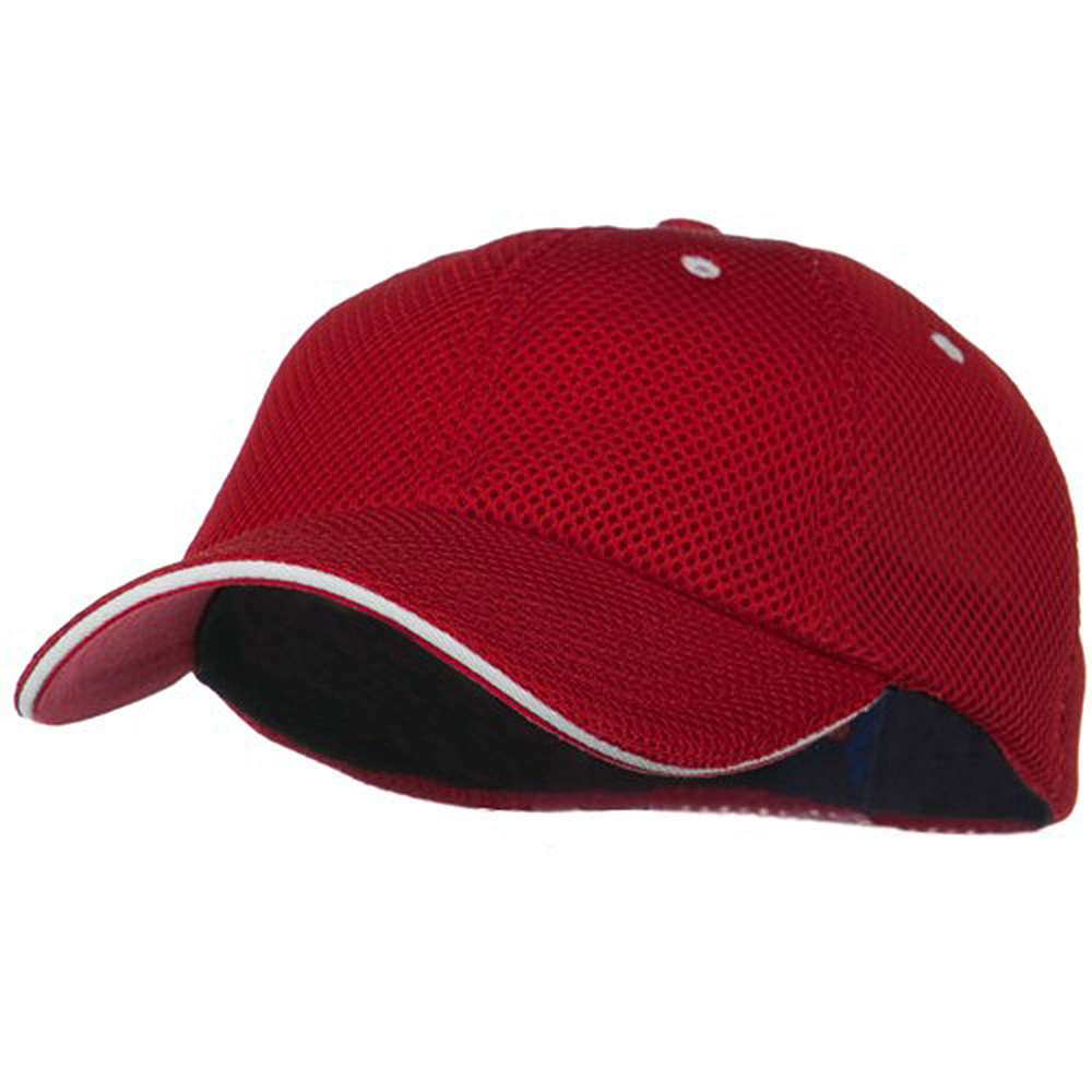 Deluxe Mesh Sandwich Bill Fitted Cap - Red White - Hats and Caps Online Shop - Hip Head Gear