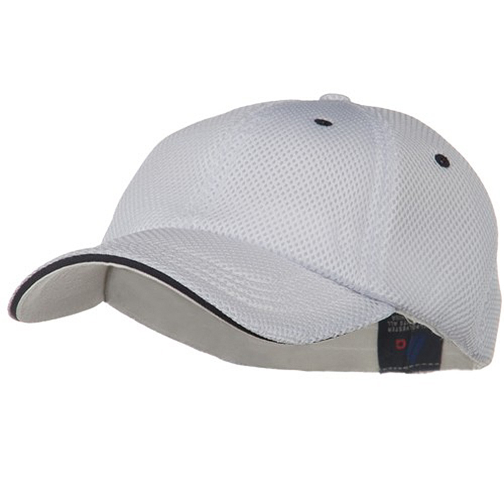 Deluxe Mesh Sandwich Bill Fitted Cap - White Navy - Hats and Caps Online Shop - Hip Head Gear