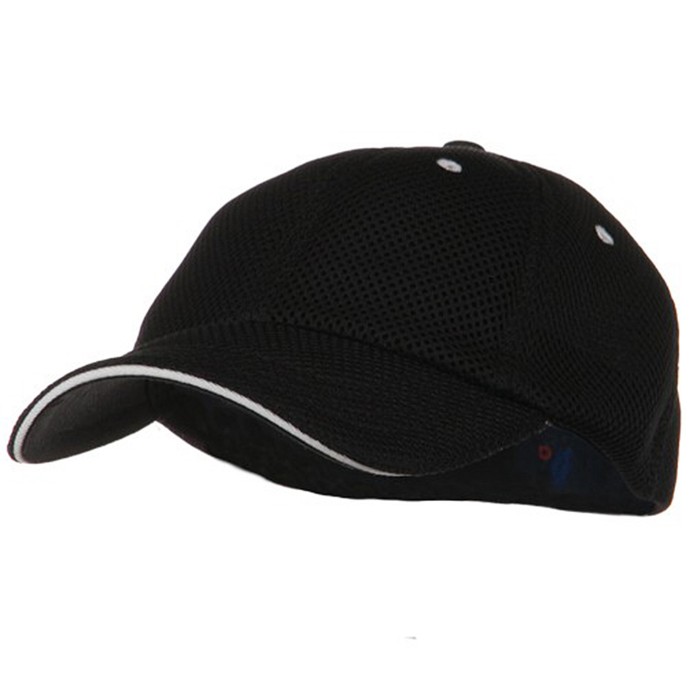Deluxe Mesh Sandwich Bill Fitted Cap - Black White - Hats and Caps Online Shop - Hip Head Gear
