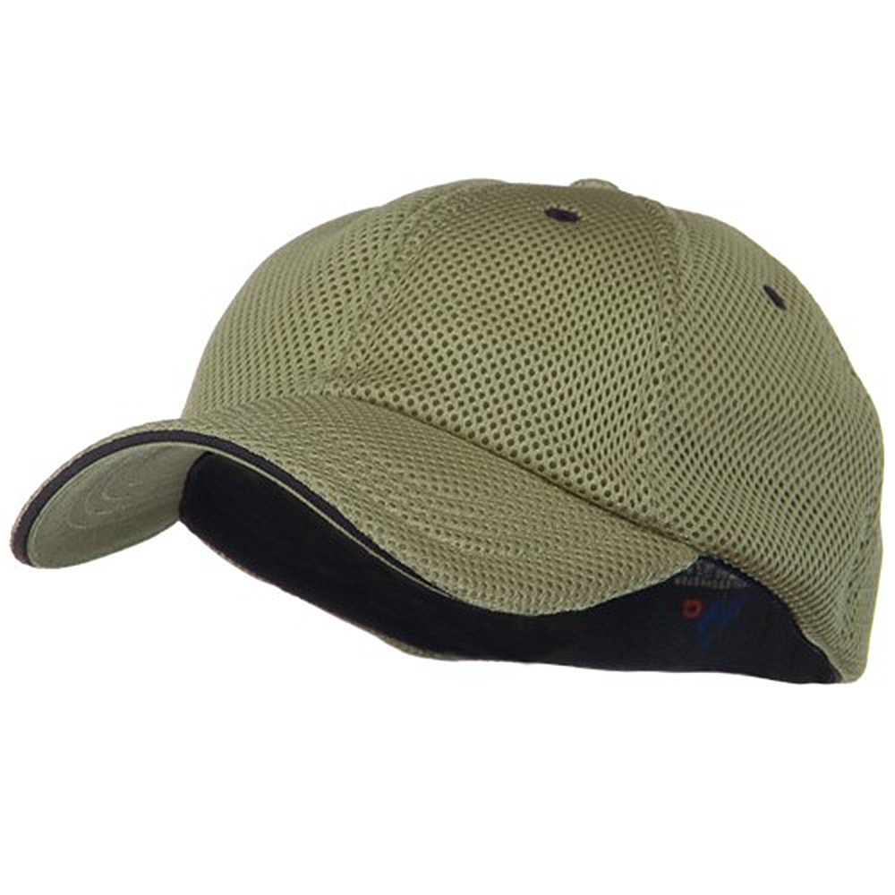 Deluxe Mesh Sandwich Bill Fitted Cap - Khaki Navy - Hats and Caps Online Shop - Hip Head Gear