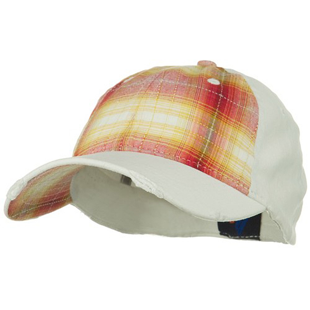 Low Profile Plaid Front Fitted Cap - Red