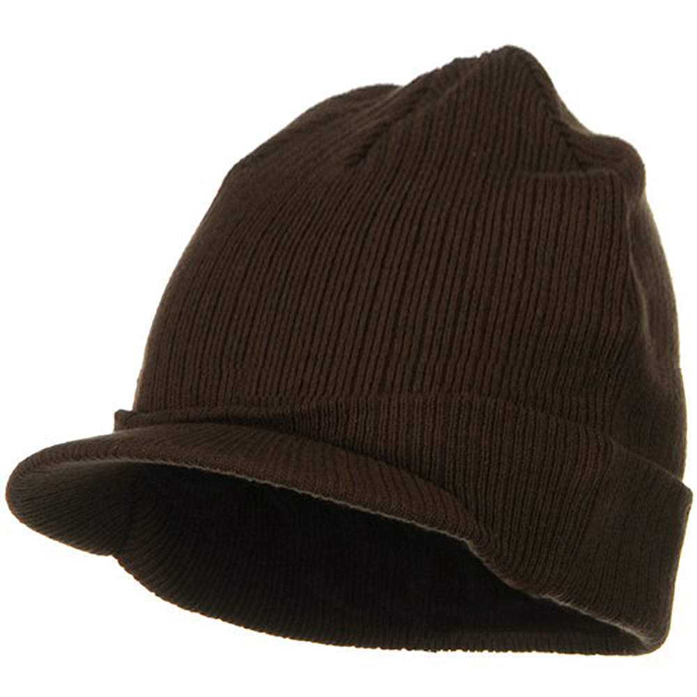Big Knit Ribbed Beanie with Visor - Brown - Hats and Caps Online Shop - Hip Head Gear