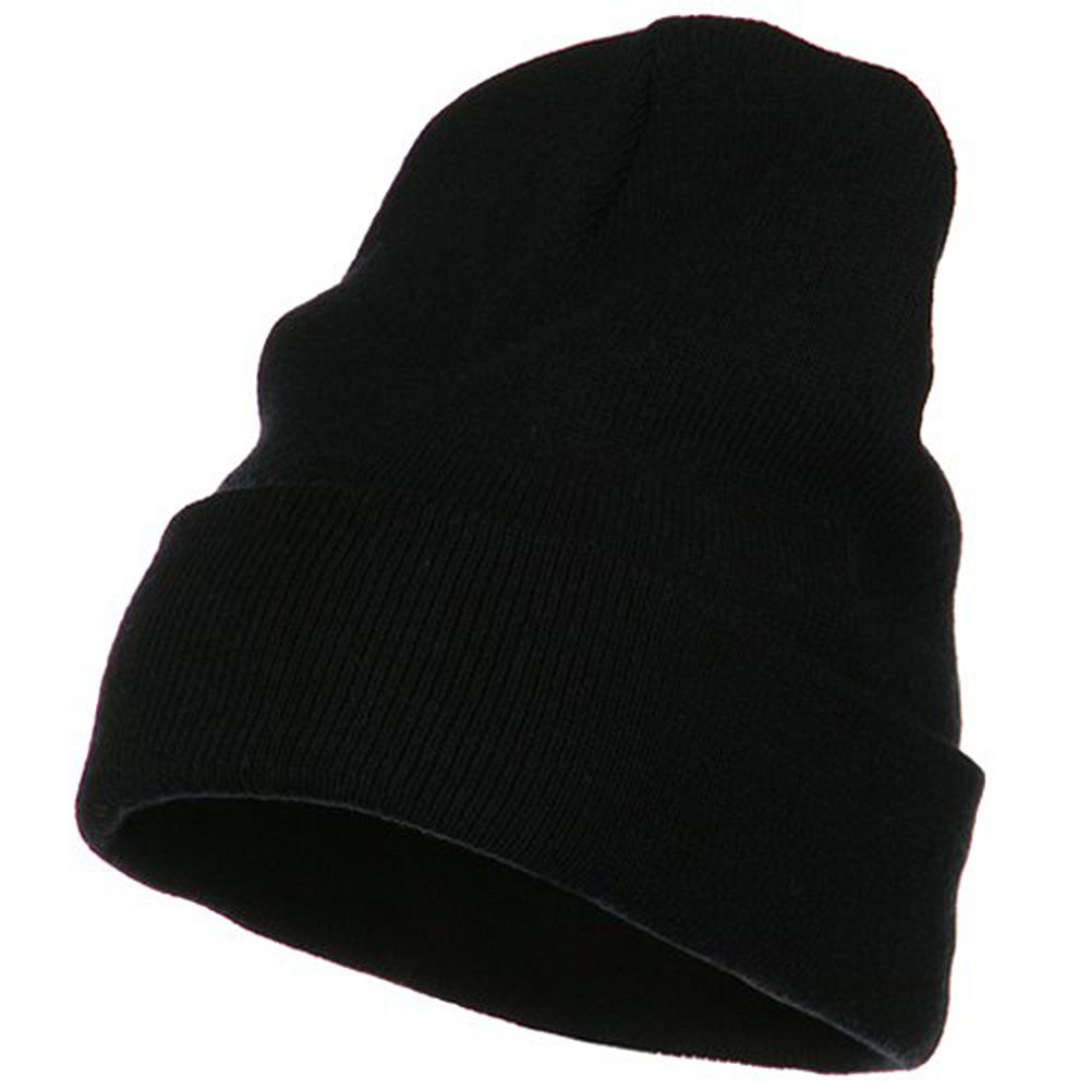 Big Size Acrylic Long Beanies-Black - Hats and Caps Online Shop - Hip Head Gear