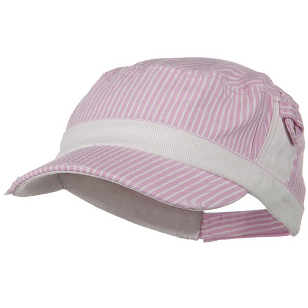 Washed Stripe Denim Fidel Army Cap - Pink - Hats and Caps Online Shop - Hip Head Gear