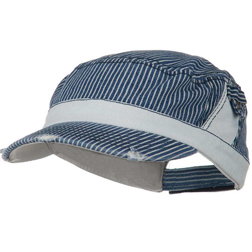 Washed Stripe Denim Fidel Army Cap - Denim Blue - Hats and Caps Online Shop - Hip Head Gear