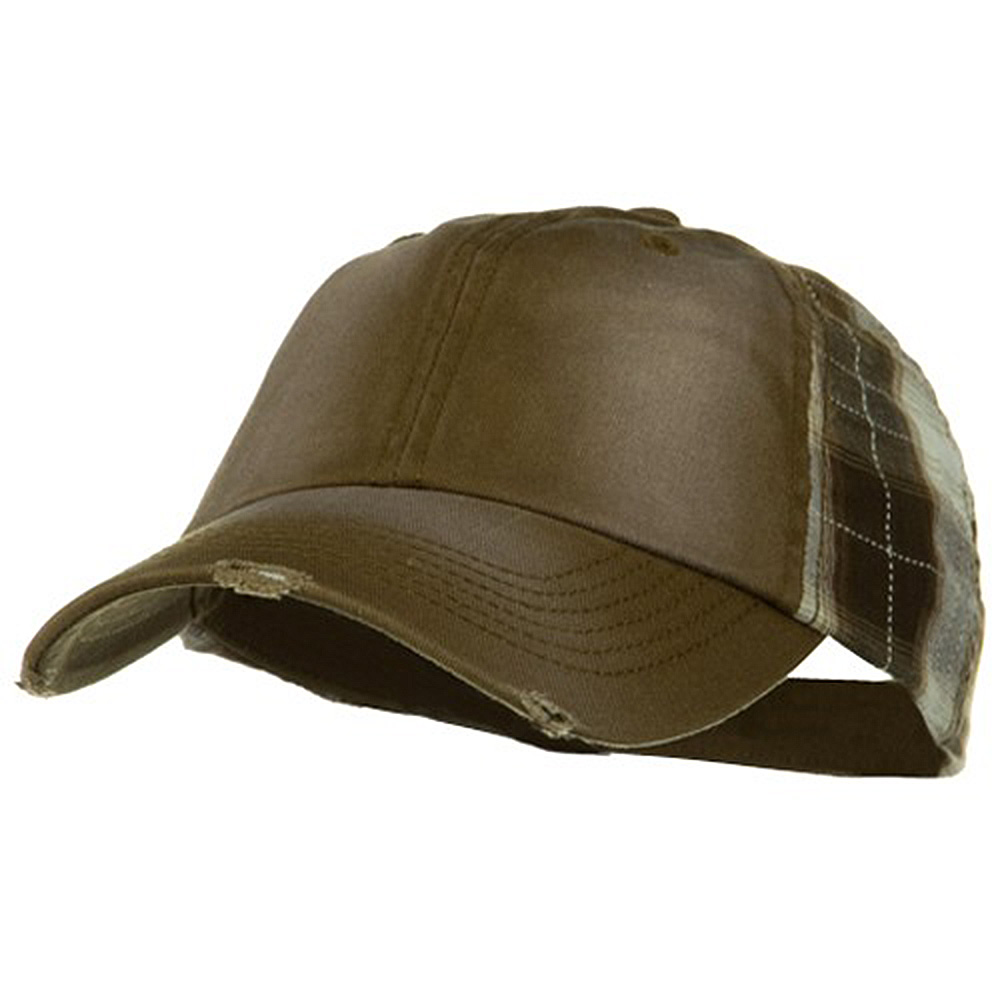 Washed Cotton Plaid Low Profile Cap - Brown - Hats and Caps Online Shop - Hip Head Gear