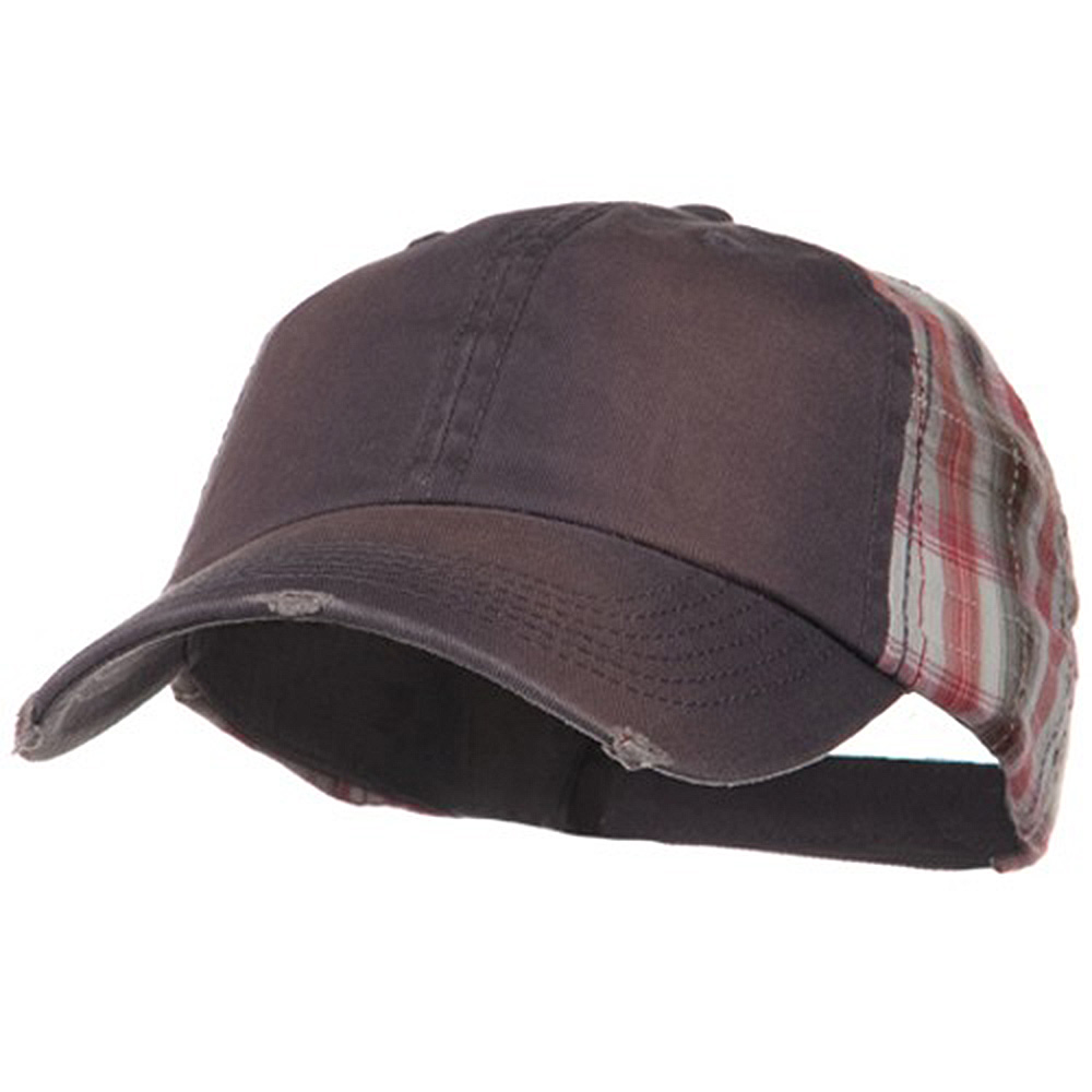 Washed Cotton Plaid Low Profile Cap - Grey - Hats and Caps Online Shop - Hip Head Gear