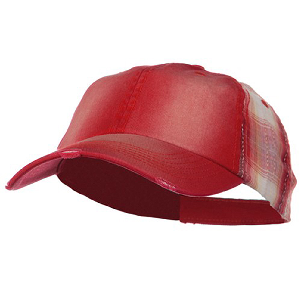 Washed Cotton Plaid Low Profile Cap - Red - Hats and Caps Online Shop - Hip Head Gear