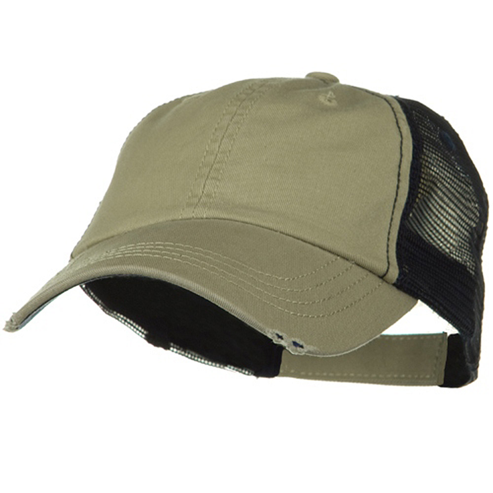 Washed Organic Cotton Mesh Cap - Khaki Navy