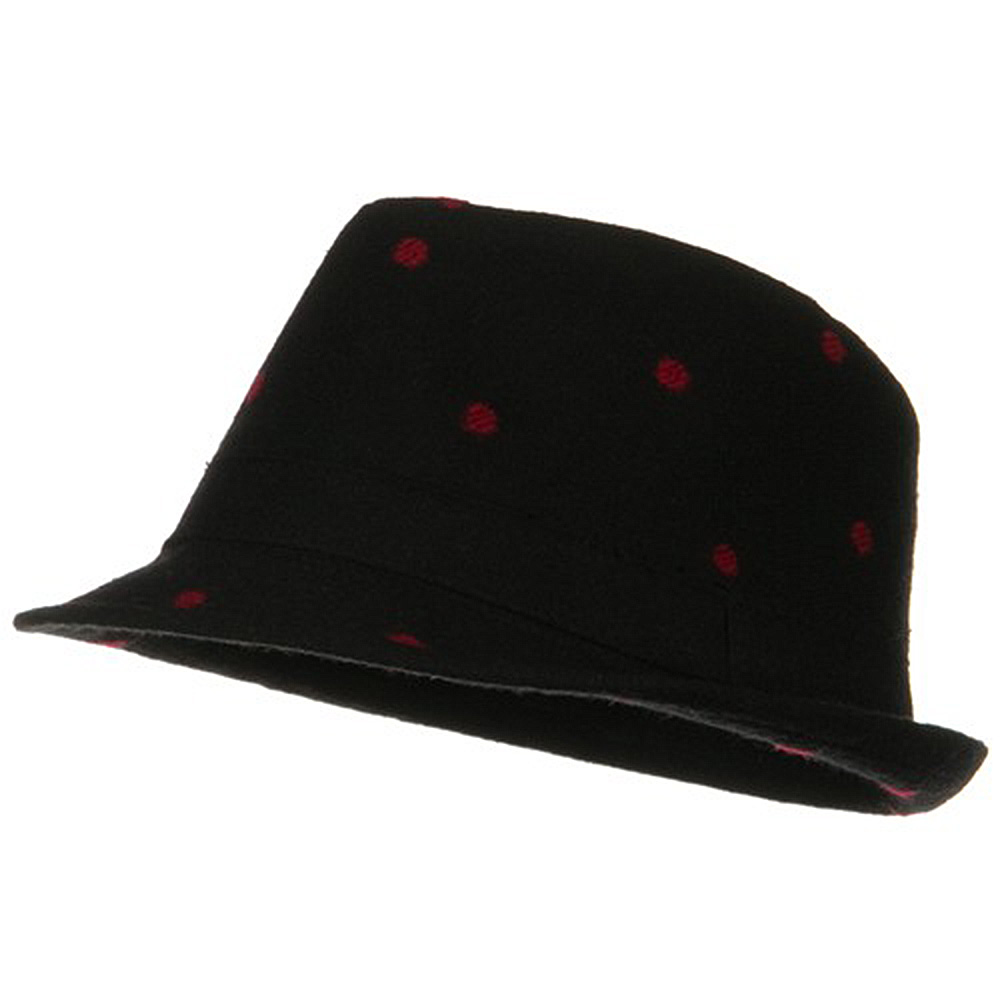 Tweed Fedora with Polka Dots - Black Red - Hats and Caps Online Shop - Hip Head Gear