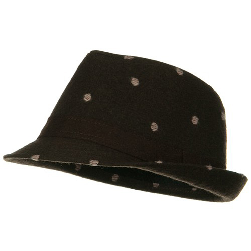 Tweed Fedora with Polka Dots - Brown - Hats and Caps Online Shop - Hip Head Gear